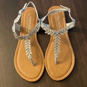 Silver Leaf Strap Sandals
